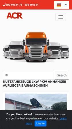 Vorschau der mobilen Webseite www.acr-juretzki.de, ACR-Juretzki Nutzfahrzeughandels GmbH