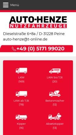 Vorschau der mobilen Webseite www.auto-henze.de, Auto-Henze Nutzfahrzeuge