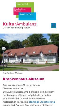 Vorschau der mobilen Webseite www.krankenhausmuseum.de, Krankenhaus-Museum Bremen