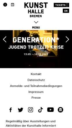 Vorschau der mobilen Webseite www.kunsthalle-bremen.de, Kunsthalle Bremen