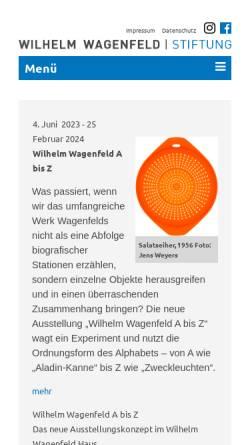 Vorschau der mobilen Webseite www.wilhelm-wagenfeld-stiftung.de, Wilhelm Wagenfeld Haus Bremen