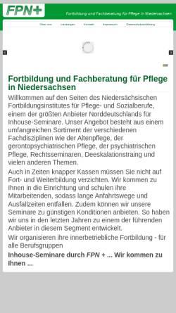 Vorschau der mobilen Webseite www.fpn-plus.de, Fortbildung und Fachberatung für Pflege in Niedersachen