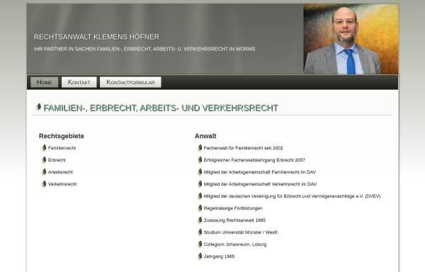 Vorschau von www.anwalt-hoefner.de, Rechtsanwalt Höfner