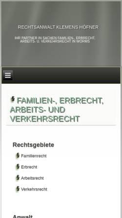 Vorschau der mobilen Webseite www.anwalt-hoefner.de, Rechtsanwalt Höfner