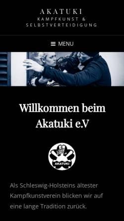Vorschau der mobilen Webseite www.akatuki.de, AKATUKI e.V. Kiel - Karate, Aikido, Ju-Jutsu