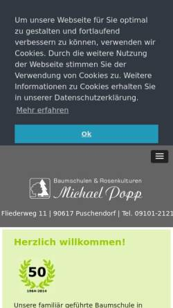 Vorschau der mobilen Webseite www.baumschule-popp.de, Baumschule Michael Popp