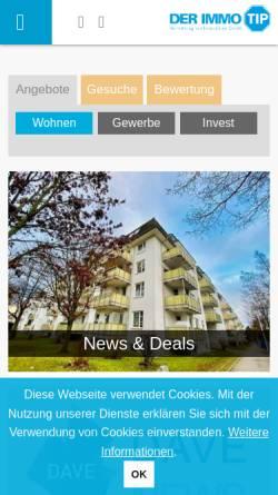 Vorschau der mobilen Webseite www.der-immo-tip.de, DER IMMO TIP, Vermittlung von Immobilien GmbH