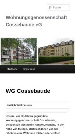 Vorschau der mobilen Webseite wg-cossebaude.de, Wohnungsgenossenschaft Cossebaude eG