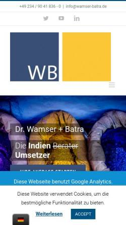 Vorschau der mobilen Webseite wamser-batra.de, India Consult Dr. Wamser und Batra GmbH