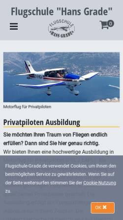 Vorschau der mobilen Webseite www.flugschule-grade.de, Flugschule Hans Grade GmbH