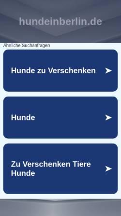 Vorschau der mobilen Webseite www.hundeinberlin.de, Hunde in Berlin