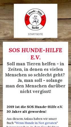 Vorschau der mobilen Webseite www.soshundehilfe.de, SOS Hundehilfe Berlin e.V.