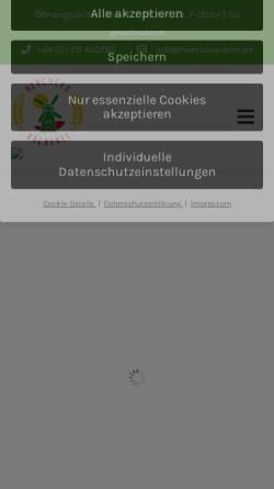 Vorschau der mobilen Webseite www.hercules-baeckerei.de, Hercules Vollkorn- und Mühlenbäckerei