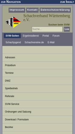 Vorschau der mobilen Webseite www.svw.info, Schachverband Württemberg e. V.