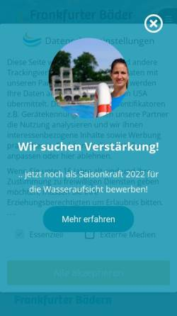 Vorschau der mobilen Webseite www.bbf-frankfurt.de, BäderBetriebe Frankfurt GmbH
