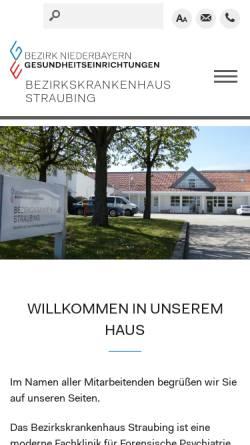 Vorschau der mobilen Webseite www.bkh-straubing.de, Bezirkskrankenhaus Straubing Forensisch-psychiatrische Klinik