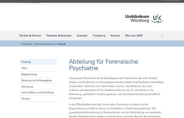 Vorschau von www.forensik.ukw.de, Forensische Psychiatrie, Uni Würzburg