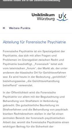 Vorschau der mobilen Webseite www.forensik.ukw.de, Forensische Psychiatrie, Uni Würzburg