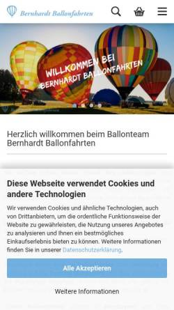 Vorschau der mobilen Webseite www.bernhardt-ballonfahrten.de, Ballonfahrten im Heißluftballon über Bayern und Sachsen