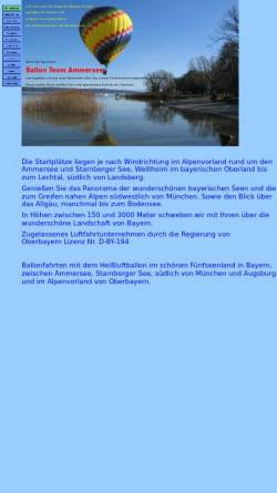 Vorschau der mobilen Webseite www.ammersee-ballonfahrten.de, Ballonteam Ammersee