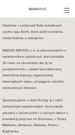 Vorschau der mobilen Webseite www.wagonservice.sk, Wagon Service travel, s. r. o.