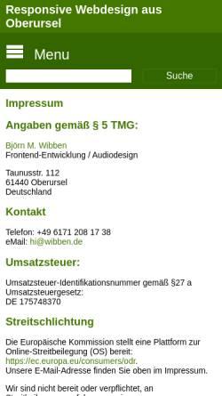 Vorschau der mobilen Webseite www.wibben.de, Björn M. Wibben