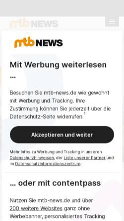 Vorschau der mobilen Webseite www.mtb-news.de, Internet Bike Community