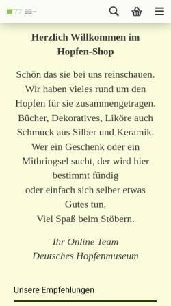 Vorschau der mobilen Webseite www.hopfenshop.de, Hopfen-Shop, PAF-Creativ