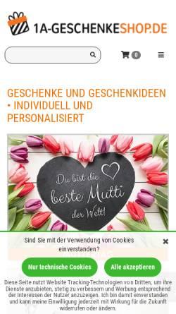 Vorschau der mobilen Webseite www.1a-geschenkeshop.de, Proverdi GmbH