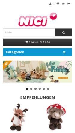 Vorschau der mobilen Webseite www.nici-shop.ch, upX GmbH