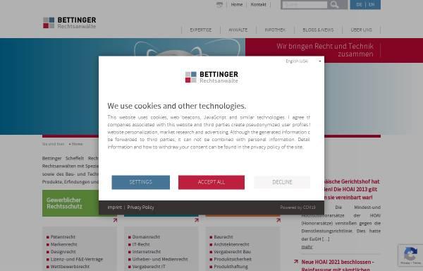 Vorschau von www.bettinger.de, Rechtsanwälte Bettinger und Partner, München