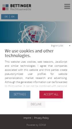 Vorschau der mobilen Webseite www.bettinger.de, Rechtsanwälte Bettinger und Partner, München