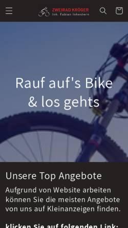 Vorschau der mobilen Webseite www.zweirad-kroeger.de, Zweiräder Kröger, Benno Kröger