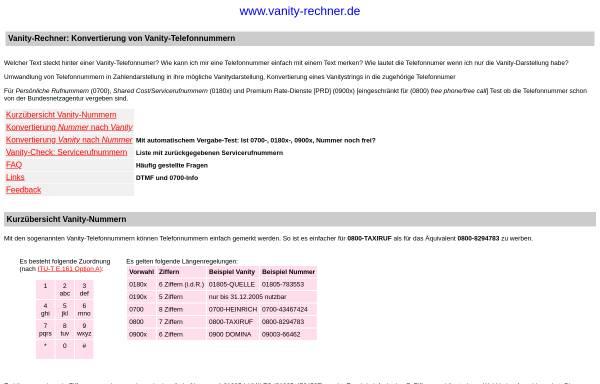 Vorschau von www.vanity-rechner.de, Vanity-Rechner