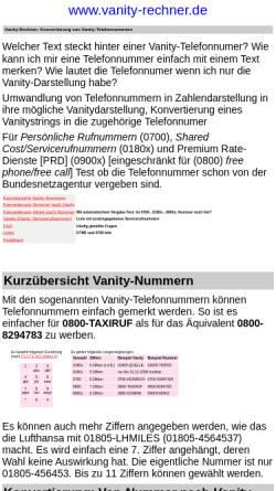 Vorschau der mobilen Webseite www.vanity-rechner.de, Vanity-Rechner
