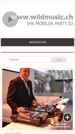 Vorschau der mobilen Webseite www.wildmusic.ch, Alex's Karaoke Show