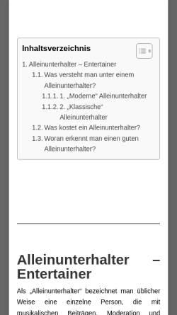 Vorschau der mobilen Webseite www.alleinunterhalter-entertainer.de, Alleinunterhalter & Entertainer