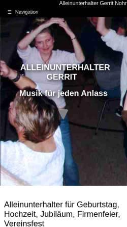 Vorschau der mobilen Webseite alleinunterhalter-gerrit.de, Alleinunterhalter Gerrit