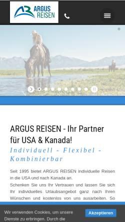 Vorschau der mobilen Webseite www.argusreisen.de, Argus Reisen