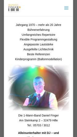 Vorschau der mobilen Webseite www.die-1-mann-band.de, Finger, Daniel