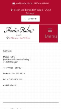 Vorschau der mobilen Webseite www.martin-halm-voice.de, Halm, Martin