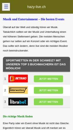 Vorschau der mobilen Webseite www.hazy-live.ch, Hazy-live