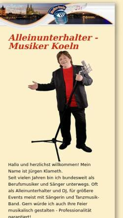 Vorschau der mobilen Webseite www.musiker-koeln.de, Klameth, Jürgen