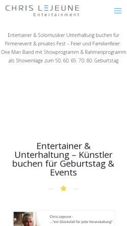 Vorschau der mobilen Webseite www.buskin-chris.com, Lejeune, Chris - der Entertainer