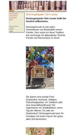 Vorschau der mobilen Webseite www.drehorgel-spieler.de, Lieske, Dirk