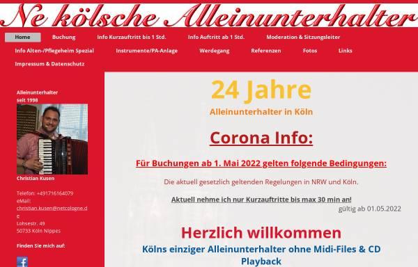 Vorschau von www.alleinunterhaltung-koeln.de, Ne kölsche Alleinunterhalter
