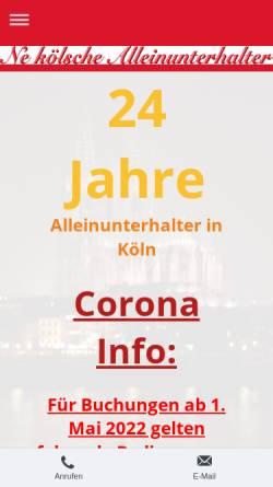 Vorschau der mobilen Webseite www.alleinunterhaltung-koeln.de, Ne kölsche Alleinunterhalter