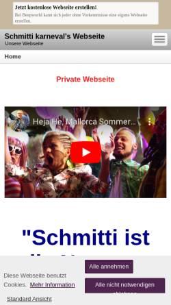 Vorschau der mobilen Webseite schmitti-karneval.beepworld.de, Schmitti