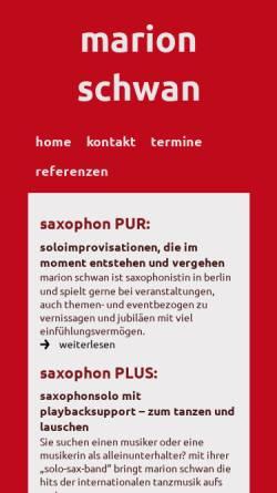 Vorschau der mobilen Webseite www.saxophonistin-berlin.de, Schwan, Marion
