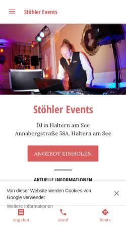 Vorschau der mobilen Webseite www.stoehler-events.de, Stöhler Events